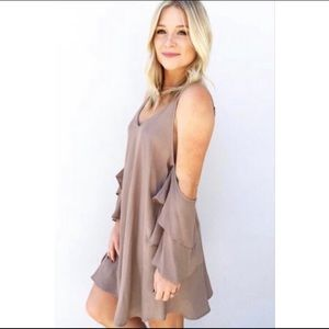 Paris Off Shoulder Taupe Ruffle Dress